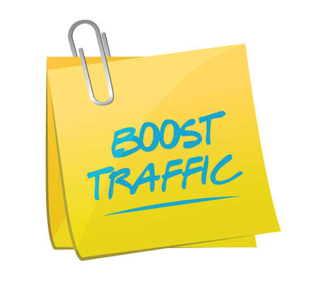 pageviews: boost traffic memo post illustration design over a white background