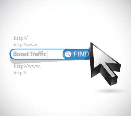 coup de pouce: recherche pour augmenter le trafic. barre de recherche illustration de conception sur un fond blanc Illustration