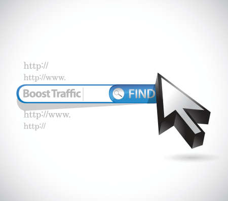 pageviews: search to boost traffic. search bar illustration design over a white background