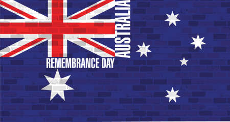 remembrance day: remembrance day. australian flag over a brick wall flag background
