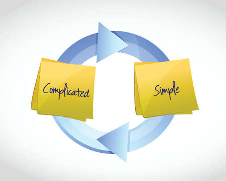 complicated: complicated and simple cycle illustration design over a white background
