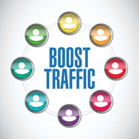 website traffic: boost traffic people diagram illustration design over a white background Illustration