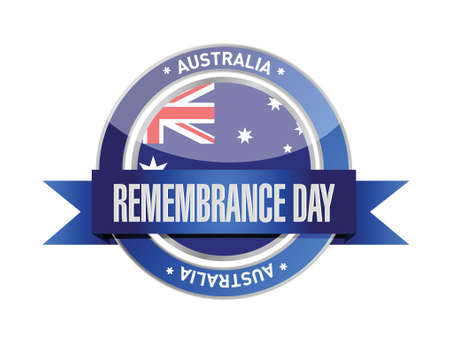 anzac: remembrance day. australia ribbon seal illustration design over a white background