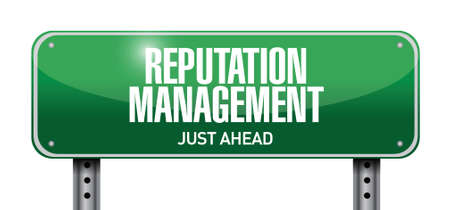 press release: reputation management road sign illustration design over a white background
