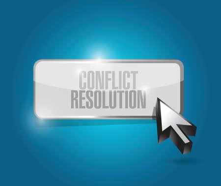 konflikt: rozwiązywanie konfliktów przycisk projektowania ilustracji na niebieskim tle