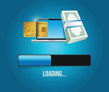 opportunity sign: loading business concept circle flag illustration design over a blue background Illustration
