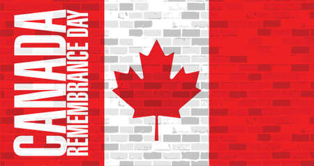 remembrance day: brick wall canada remembrance day flag illustration design artwork background