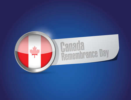 canada remembrance day seal sign illustration design over a blue background