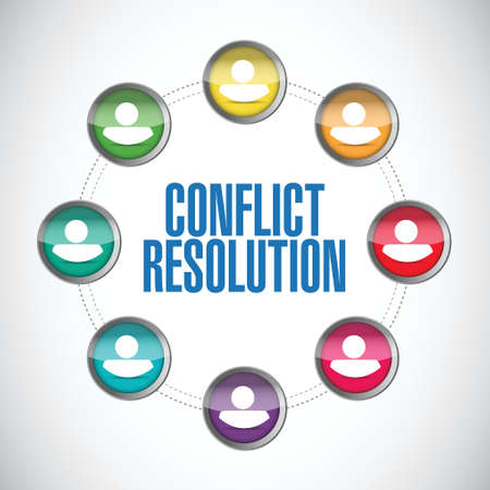 resolution: conflict resolution people diagram illustration design over a white background