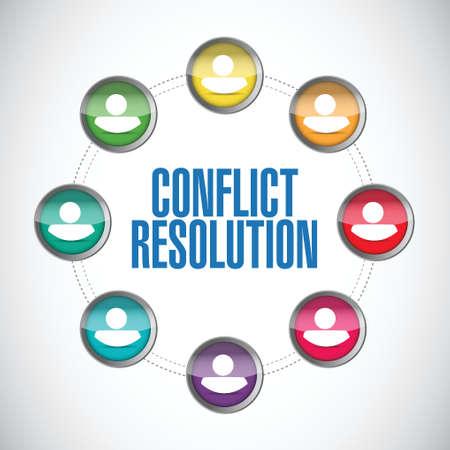 konflikt: rozwiązywanie konfliktów ludzie Schemat projektowania ilustracji na białym tle