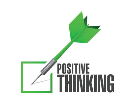 positive thought: positive thinking check dart illustration design over a white background Illustration