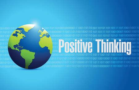 positive thinking globe sign illustration design over a blue background