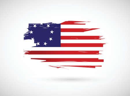 元米国旗イラスト デザイン、白地にインク私たち  イラスト・ベクター素材
