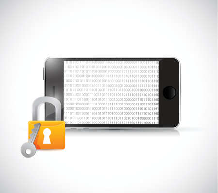 credentials: phone binary security illustration design over a white background