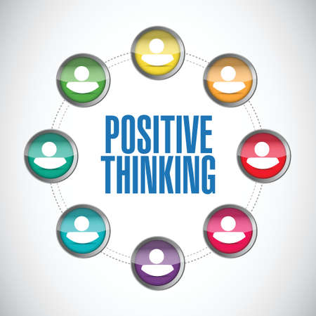 uplifting: positive thinking people diagram illustration design over a white background