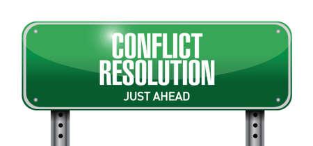 conflict resolution road sign illustration design over a white background