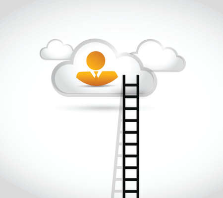 ladder of success: people ladder to cloud illustration design over a white background
