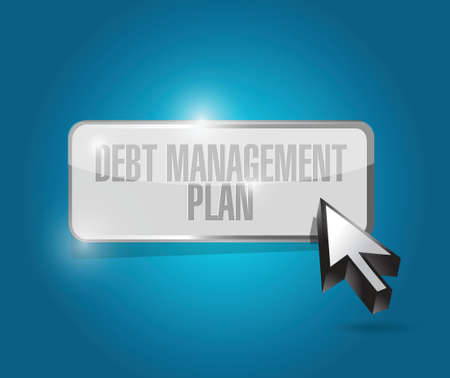 debt management: debt management plan button illustration design over a blue background