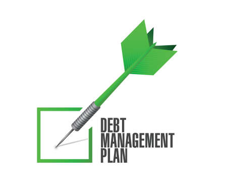 creditors: debt management plan check mark illustration design over a white background