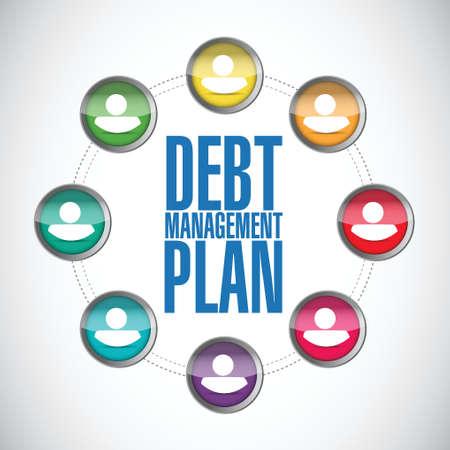 debt management: debt management plan people diagram illustration design over a white background Illustration