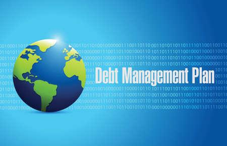 economic recovery: debt management plan globe sign illustration design over a blue background