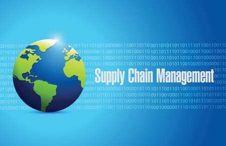 supply chain management globe sign illustration design over a blue background Ilustração
