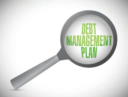 debt management plan magnify review illustration design over a white background