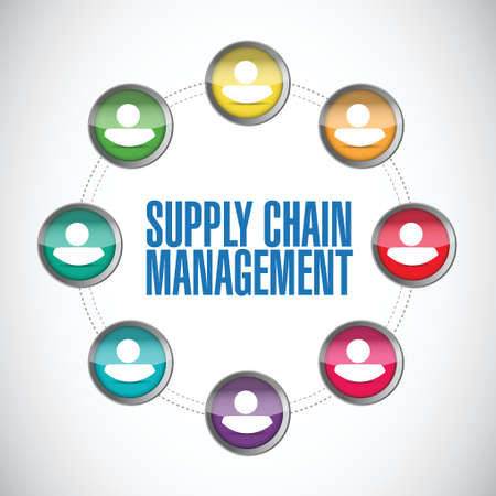 pr: supply chain management people diagram illustration design over a white background