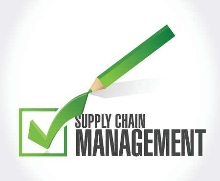 supply chain management check mark illustration design over a white background Illustration
