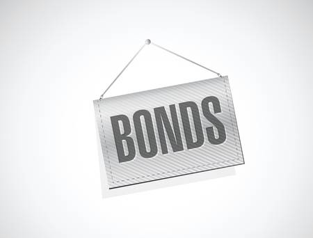 hanging banner: bonds hanging banner illustration design over a white background