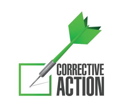 corrective: corrective action check of approval illustration design over a white background