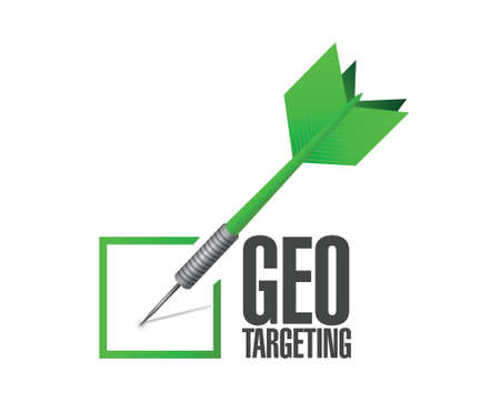busines: geo targeting check dart illustration design over a white background
