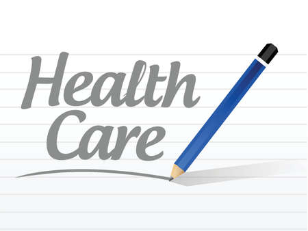 cross with care: health care message sign illustration design over a white background