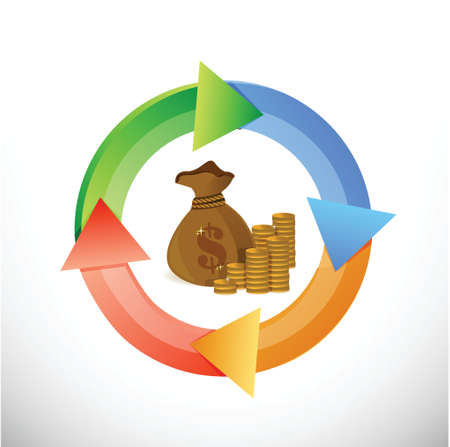 business cycle: money business cycle illustration design over a white background
