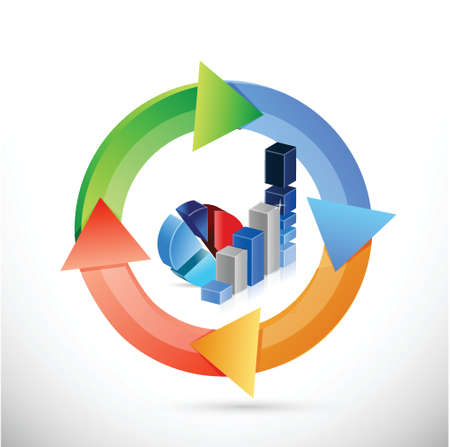 changing colors: business graph color cycle illustration design over a white background Illustration