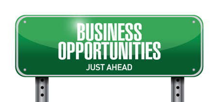 mergers: business opportunities road sign illustration design over a white background