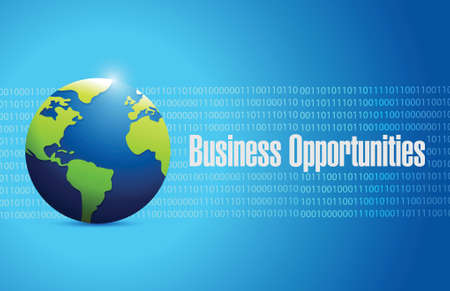 business opportunities globe sign illustration design over a blue binary background