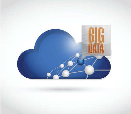 큰 데이터 영역 네트워크 다이어그램 그림 디자인 흰색 배경 위에
