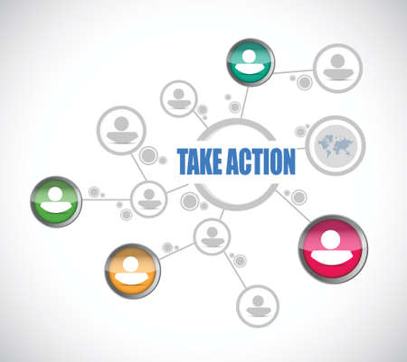 take action: take action people diagram sign illustration design over a white background