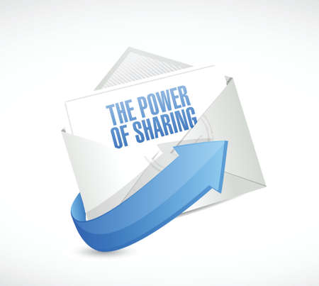 the power of sharing email illustration design over a white background Çizim