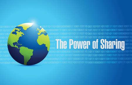 generosidad: el poder de compartir la gente de diseño ilustración mundo sobre un fondo azul binario
