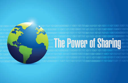 aiding: the power of sharing people globe illustration design over a blue binary background