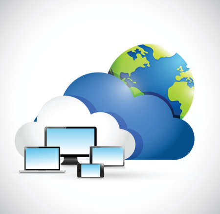 synchronizing: international cloud computing network concept illustration design over a white background