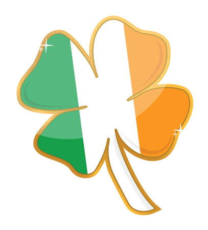 irish pride: Saint Patricks irish flag clover illustration design over a white background