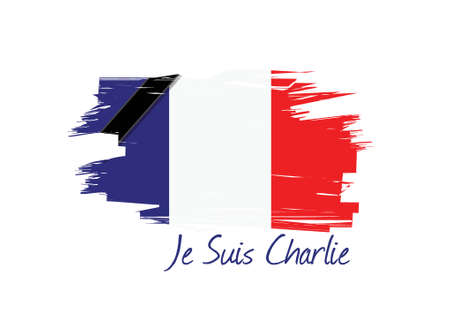 satirical: je suis charlie french flag illustration design over a white background