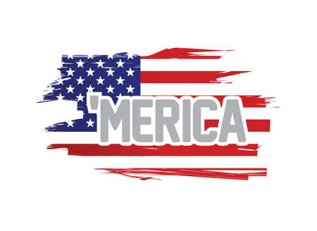merica usa flag sign illustration design over a white background Illustration