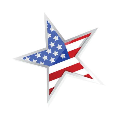 usa patriotic flag star illustration design over a white background