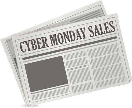 gazette: cyber monday sales newspaper deal illustration design over a white background