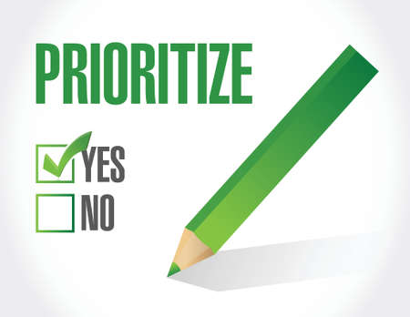 prioritize approval illustration design over a white background