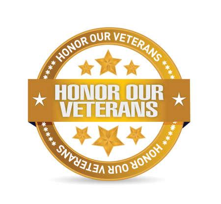 白い背景の上の私たちの退役軍人の目標シール イラスト デザインを名誉します。  イラスト・ベクター素材
